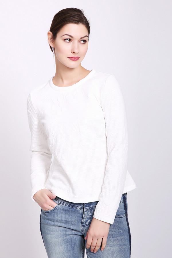 Пуловер TaifunПуловеры<br>Пуловер женский белого цвета от немецкого бренда Taifun. Модель выполнена прямым фасоном. Изделие дополнено округлым воротом, втачными, длинными рукавами, задняя застежка молния. Состав ткани: 2% эластан, 14% вискоза, 84% полиэстер. Сочетать можно с различными брюками.