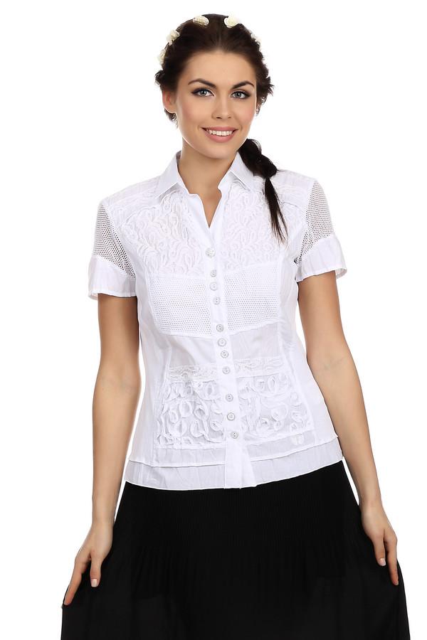 Блузa SE StenauБлузы<br>Элегантная блуза от бренда SE Stenau выполнена в белоснежном цвете. Данная блуза пошита из смеси полиэстера и хлопка. Изделие дополнено: отложным воротником, короткими рукавами длиной до середины плеча и планкой на пуговицах. Кроме того, блуза оформлена сеточками и ажурными вставками.<br><br>Размер RU: 42<br>Пол: Женский<br>Возраст: Взрослый<br>Материал: хлопок 35%, полиэстер 65%<br>Цвет: Белый