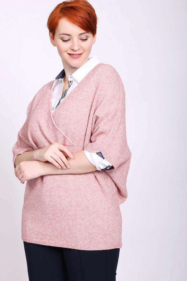 Пуловер PezzoПуловеры<br>Пуловер женский розового цвета от бренда Pezzo. Модель выполнена прямым фасоном. Изделие дополнено округлым воротом с V - образным вырезом, короткими рукавами реглан. Состав ткани: 40% вискоза, 32% полиэстер, 28% нейлон. Комбинировать можно с различными брюками.