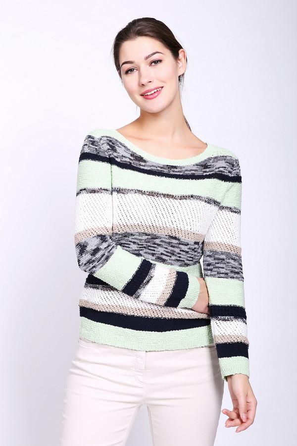 Пуловер PezzoПуловеры<br>Пуловер женский зеленого цвета от бренда Pezzo. Модель выполнена прямым фасоном. Изделие дополнено округлым воротом, втачными, длинными рукавами. Ткань имеет разноцветный, полосатый принт. Состав ткани: 96% хлопок, 4% нейлон. Комбинировать можно с различными брюками.