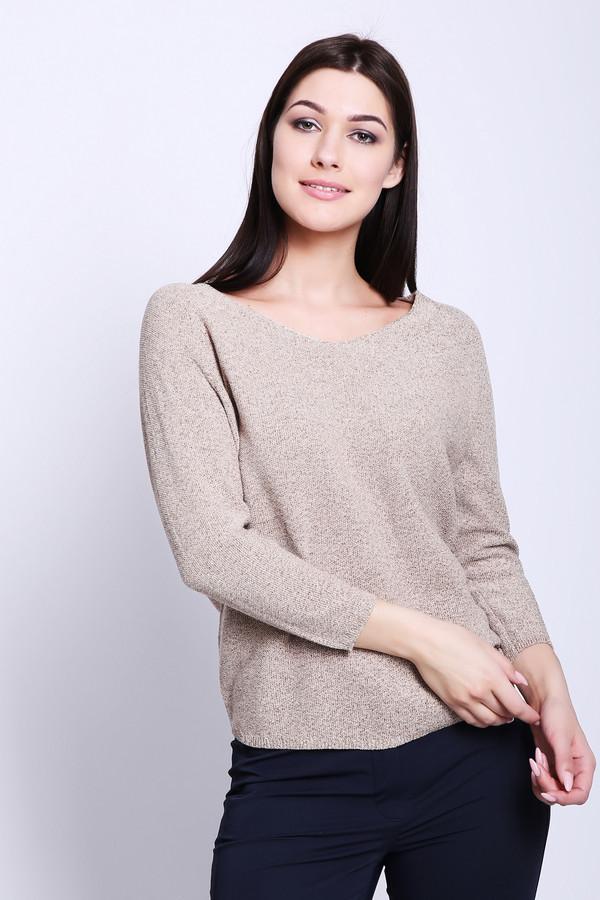 Пуловер PezzoПуловеры<br>Пуловер женский бежевого цвета от бренда Pezzo. Модель выполнена прямым фасоном. Изделие дополнено округлым воротом с V - образным вырезом, рукавами реглан 3/4 длины. Ткань состоит из 22% полиэстера, 66% хлопка, 12% металл. Комбинировать можно с различными юбками, брюками.