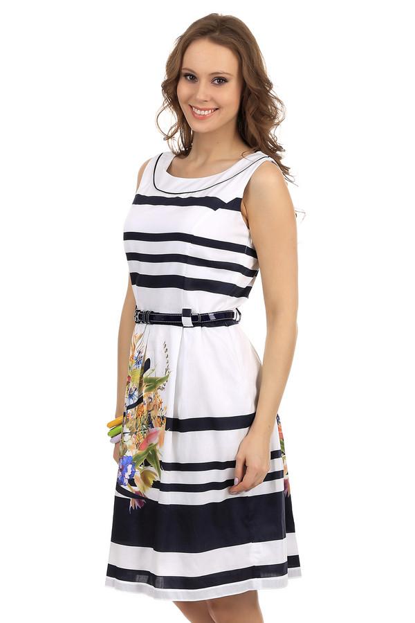 Платье SteilmannПлатья<br>Стильное женское платье от бренда Steilmann. Это платье-футляр со свободной юбкой. Оно пошито из 100% хлопка. Данная модель представлена в белом цвете, с черными полосками и цветочным принтом на юбке. Это платье-безрукавка, с круглым вырезом и черным лакированным поясом.<br><br>Размер RU: 40<br>Пол: Женский<br>Возраст: Взрослый<br>Материал: хлопок 100%<br>Цвет: Разноцветный