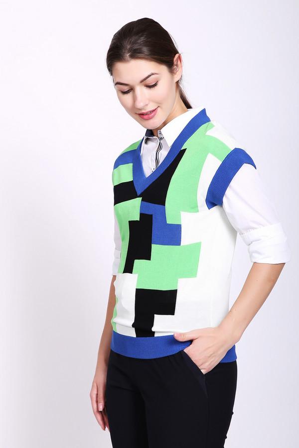 Жилет PezzoЖилеты<br>Жилет женский зеленого цвета от бренда Pezzo. Модель выполнена прямым фасоном. Изделие дополнено округлым воротом с V - образным вырезом, короткими рукавами. На передней части расположен геометрический, разноцветный принт. Окружность ворота, рукава, низ жилета обшит бейкой синего цвета. Ткань состоит из 100% района. Комбинировать можно с различными деталями вашего гардероба.