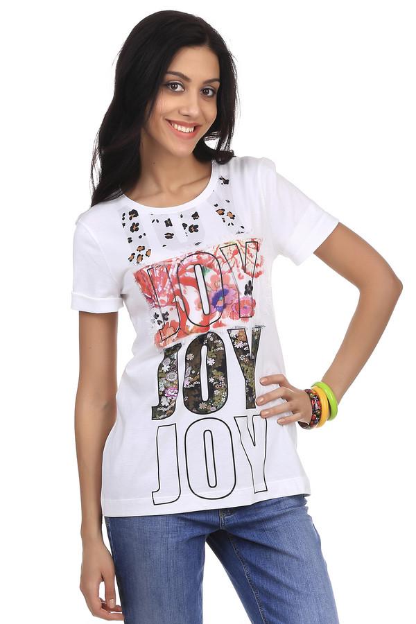 Футболка Marc CainАбсолютно натуральная, модная летняя белая футболка, с веселым, красочным принтом слова счастье на английском языке, классического покроя. Футболка такого простого покроя должна быть в гардеробе у каждой девушки и женщины. Она очень практична и удобна в носке и является незаменимым элементом гардероба для отдыха.<br><br>Размер RU: 46<br>Пол: Женский<br>Возраст: Взрослый<br>Материал: хлопок 100%<br>Цвет: Белый
