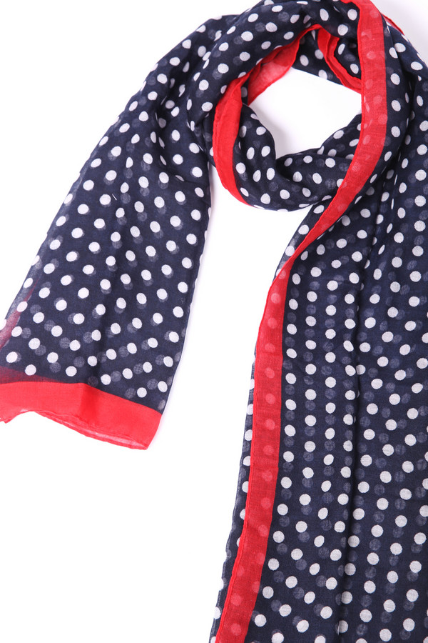 Шарф Gerry WeberШарфы<br>Шарф женский синего цвета фирмы Gerry Weber. Модель изготовлена из ткани с принтом и красной полосой. Ткань состоит из 100% полиэстер. Легкий шарф поможет внести в ваш образ разнообразие. Завязав такой шарф красивым узлом можно украсить любой наряд
