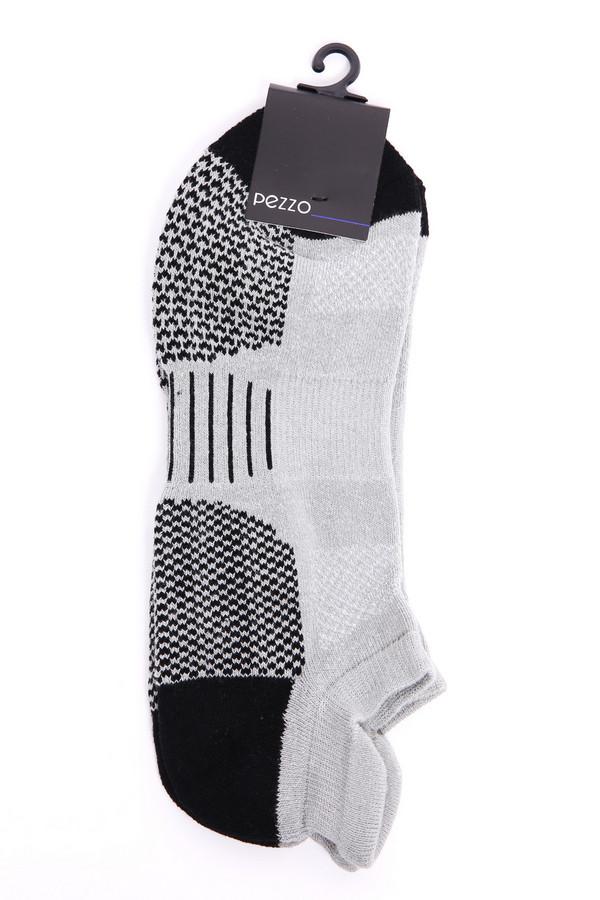 Носки PezzoНоски<br>Носки серого цвета бренда Pezzo. Модель выполнена из серой ткани с черными вставками. Ткань состоит из 2% эластана, 12% полиэстера, 86% хлопка. Сочетать можно с различной обувью.