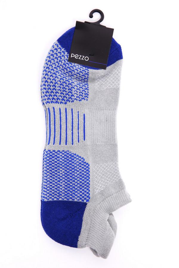 Носки PezzoНоски<br>Носки серого цвета бренда Pezzo. Модель выполнена из серой ткани с синими вставками. Состав ткани: 2% эластан, 86% хлопок, 12% полиэстер. Сочетать можно с различной обувью.