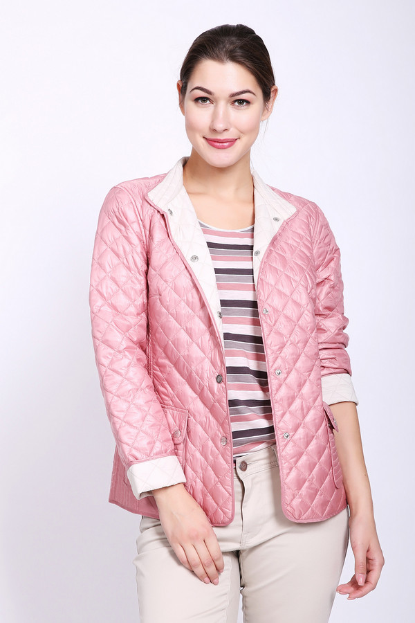 Куртка PezzoКуртки<br>Куртка женская розового цвета бренда Pezzo. Модель выполнена прямым фасоном. Изделие дополнено круглым воротом стойка, застежка на заклепки, втачными рукавами 3/4 длинны, накладными карманами с клапанами на заклепки, задним швом и рельефами, выходившие из проймы рукавов. Куртка стеганая с наполнителем. Ткань состоит из 100% нейлона. Подкладка - 100% нейлона. Наполнитель - 100% полиэстер. Сочетать можно с различными деталями вашего гардероба.