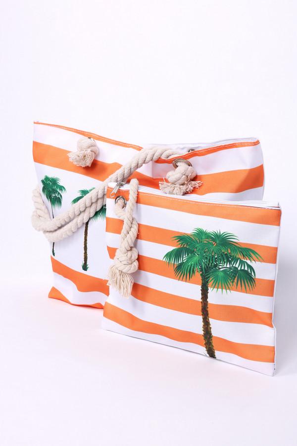 Сумка PezzoСумки<br>Сумка женская оранжевого цвета бренда Pezzo. Модель прямоугольной формы с ручками, изготовленные из веревки, продетые через металлические кольца и завязанные на узел. На сумке расположен рисунок. Состав ткани: 100% полиэстер, подкладка - 100% полиэстер.
