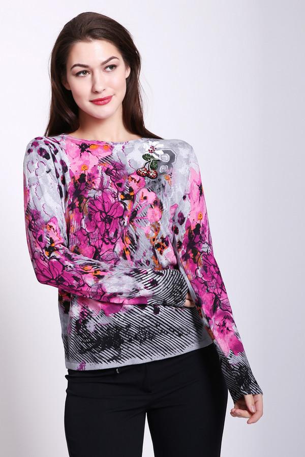 Пуловер Betty BarclayПуловеры<br>Пуловер женский серого цвета фирмы Betty Barclay. Модель выполнена прямым фасоном. Изделие дополнено округлым воротом, втачными, длинными рукавами. Ткань имеет разноцветный принт. Состав ткани : 80% вискоза, 20% полиамида. Гармонировать можно с различными деталями вашего гардероба.