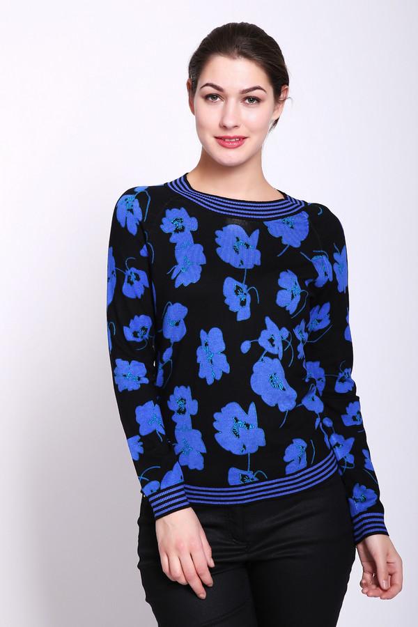Пуловер Betty BarclayПуловеры<br>Пуловер женский синего цвета фирмы Betty Barclay. Модель выполнена прямым фасоном. Изделие дополнено округлым воротом, втачными, длинными рукавами. Ткань имеет розовый принт. Окружность ворота, рукава и низ пуловера обшиты бейкой с полосатым принтом. Ткань состоит из 82% вискозы, 18% полиамида. Гармонировать можно с различными брюками.
