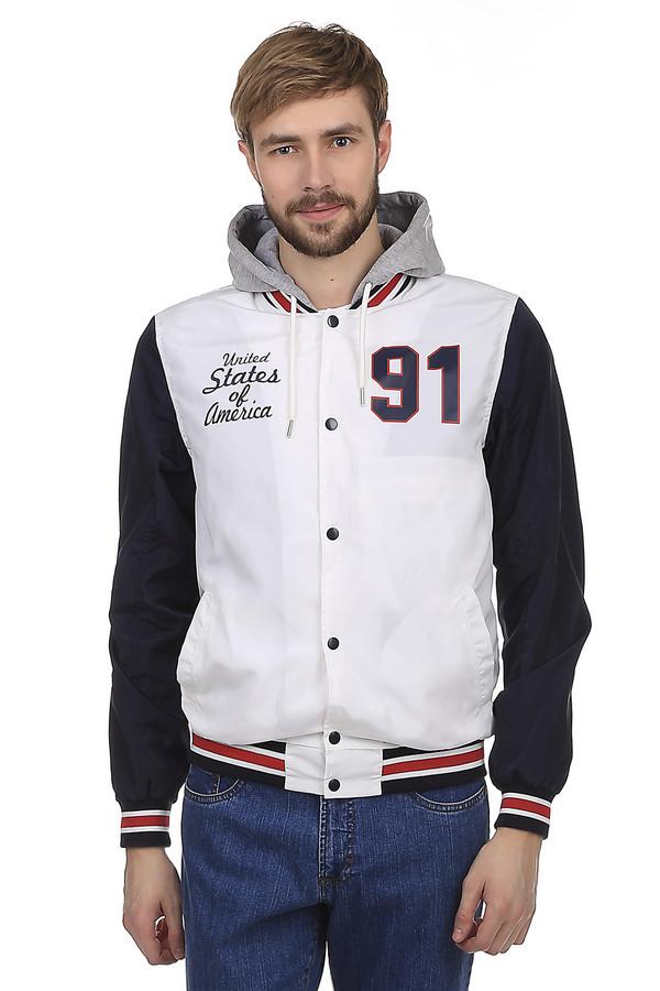 Куртка LocustКуртки<br>Стильная мужская демисезонная куртка от бренда Locust. Изделие дополнено: капюшоном с завязками, воротником стойка, двумя боковыми карманами, планкой на кнопках и длинными рукавами. Ворот, манжеты и нижний кант оформлены трикотажной эластичной резинкой. Данная модель выполнена в белом цвете с синими рукавами и серым тканевым капюшоном. Куртка декорирована надписями.<br><br>Размер RU: 52-54<br>Пол: Мужской<br>Возраст: Взрослый<br>Материал: полиэстер 100%<br>Цвет: Разноцветный