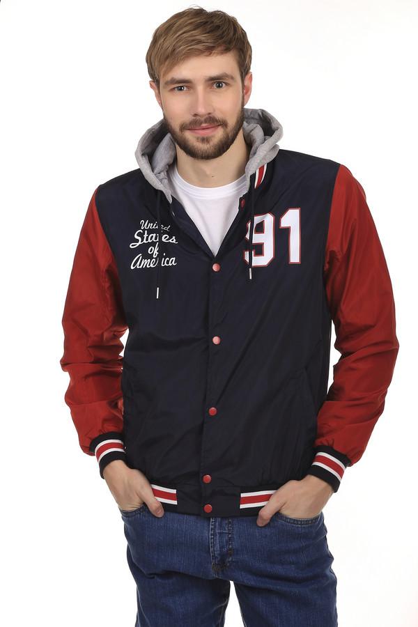 Куртка LocustКуртки<br>Стильная мужская демисезонная куртка от бренда Locust. Изделие дополнено: капюшоном с завязками, воротником стойка, двумя боковыми карманами, планкой на кнопках и длинными рукавами. Ворот, манжеты и нижний кант оформлены трикотажной эластичной резинкой. Данная модель выполнена в темно-синем цвете с красными рукавами и серым тканевым капюшоном. Куртка декорирована надписями.<br><br>Размер RU: 50-52<br>Пол: Мужской<br>Возраст: Взрослый<br>Материал: полиэстер 100%<br>Цвет: Разноцветный