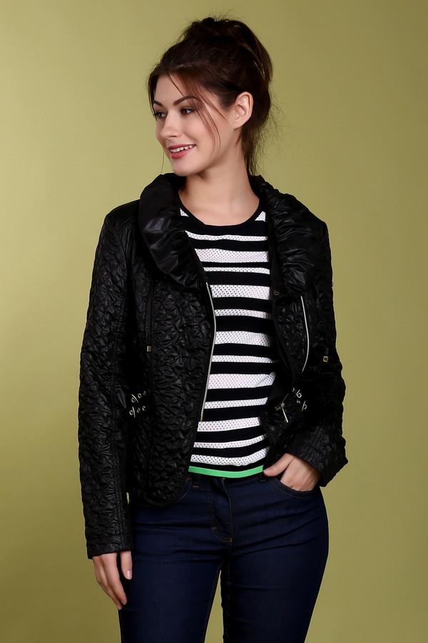 Куртка Just ValeriКуртки<br>Стеганная куртка укороченного кроя от бренда Just Valeri выполнена из легкого полиэстерового материала черного цвета. Оригинальная косая металлическая молния добавляет куртке неповторимую стильность. Отличный вариант для весны. Хорошо будет смотреться с джинсами, юбками и даже с брюками. Изделие дополнено: объемным воротником с завязками и декором по бокам в виде ремешков.<br><br>Размер RU: 48<br>Пол: Женский<br>Возраст: Взрослый<br>Материал: полиэстер 100%<br>Цвет: Чёрный