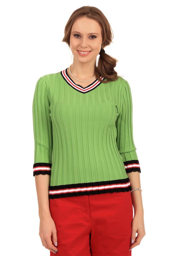 Пуловер PezzoПуловеры<br>Женский пуловер от бренда Pezzo. Изделие дополнено: V-образным вырезом и рукавом три четверти. Данная модель представлена в зеленом цвете, с окантовкой выреза, рукавов и низа в черном, белом и красном цвете. Изделие сделано из вискозы с добавлением полиэстера и хлопка.<br><br>Размер RU: 46<br>Пол: Женский<br>Возраст: Взрослый<br>Материал: полиэстер 25%, вискоза 67%, хлопок 8%<br>Цвет: Зелёный