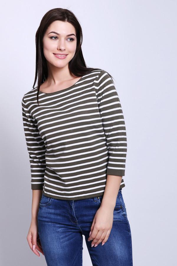 Пуловер PezzoПуловеры<br>Пуловер женский коричневого цвета бренда Pezzo. Модель выполнена прямым фасоном. Изделие дополнено округлым воротом, втачными рукавами 3/4 длины. Ткань имеет полосатый принт. Состав ткани: 82% хлопок, 18% полиамид. Сочетать можно с различными брюками.