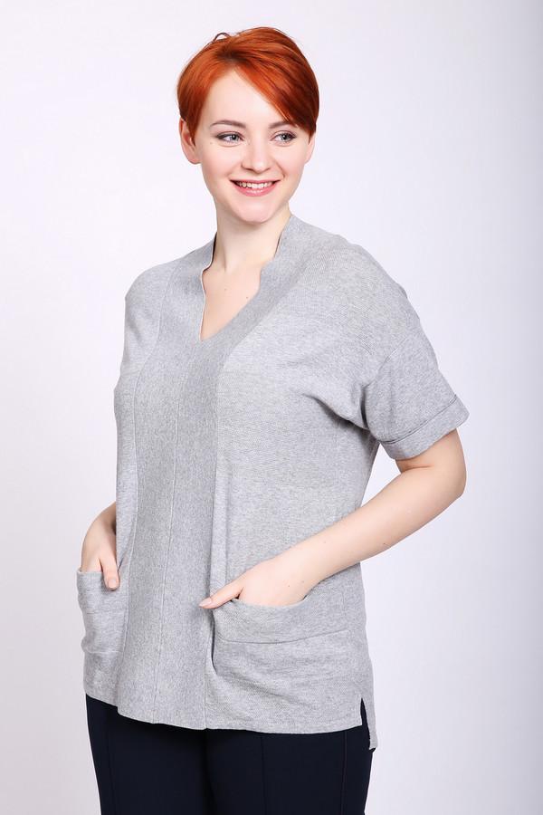 Пуловер PezzoПуловеры<br>Полувер серого цвета бренда Pezzo. Модель выполнена прямым фасоном. Изделие дополнено V - образным вырезом, короткими рукавами, прорезными карманами, боковыми разрезами. Состав ткани: 100% хлопка. Сочетать можно с различными брюками.