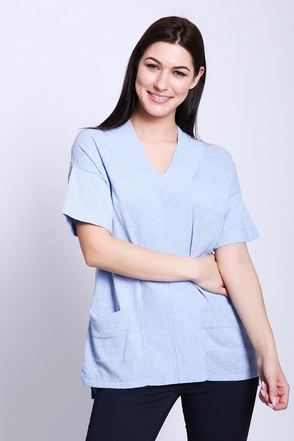 Пуловер PezzoПуловеры<br>Полувер женский голубого цвета бренда Pezzo. Модель выполнена прямым фасоном. Изделие дополнено V - образным вырезом, короткими рукавами, прорезными карманами, боковыми разрезами. Состав ткани: 100% хлопок. Сочетать можно с различными брюками.
