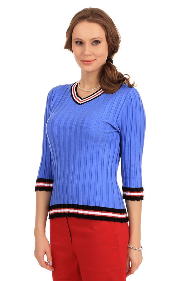 Пуловер PezzoПуловеры<br>Фирменный женский пуловер фирмы Pezzo. Этот пуловер представлен в ярком голубом цвете, с добавлением окантовок в черном, белом и красном цвете. Изделие дополнено: V-образным вырезом и рукавом длиной три четверти. Данный пуловер сделан из вискозы с добавлением полиэстера и хлопка.<br><br>Размер RU: 42<br>Пол: Женский<br>Возраст: Взрослый<br>Материал: полиэстер 25%, вискоза 67%, хлопок 8%<br>Цвет: Синий