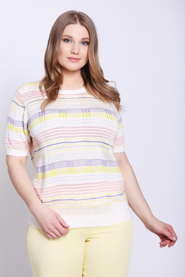 Пуловер PezzoПуловеры<br>Пуловер женский розового цвета бренда Pezzo. Модель выполнена прямым фасоном. Изделие дополнено округлым воротом, втачными, короткими рукавами. Ткань имеет полосатый принт. Окружность ворота обшиты бейкой. Состав ткани: 45% вискозы, 55% хлопок. Сочетать можно с различными брюками.