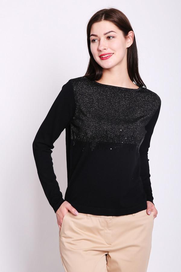 Пуловер PezzoПуловеры<br>Пуловер женский черного цвета от бренда Pezzo. Модель выполнена прямым фасоном. Изделие дополнено округлым воротом, втачными, длинными рукавами. Передняя часть пуловера украшена стразами. Состав ткани: 79% вискоза, 2% полиэстер, 18% полиамид, 1% металл. Комбинировать можно с различными брюками.