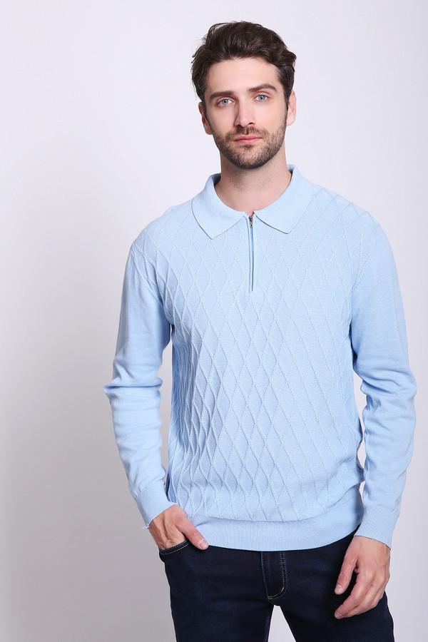Джемпер PezzoДжемперы и Пуловеры<br>Джемпер мужской голубого цвета бренда Pezzo. Модель выполнена прямым фасоном. Изделие дополнено откладным воротом, длинными рукавами, застежка молния. Ткань состоит из 100% хлопка. Сочетать можно с различными брюками.