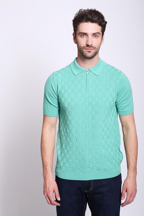 Джемпер PezzoДжемперы и Пуловеры<br>Джемпер мужской зеленого цвета бренда Pezzo. Модель выполнена прямым фасоном. Изделие дополнено откладным воротом, короткими рукавами, застежка молния. Ткань состоит из 100% хлопка. Сочетать можно с различными брюками.