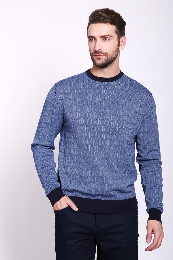 Джемпер PezzoДжемперы и Пуловеры<br>Джемпер мужской синего цвета бренда Pezzo. Модель выполнена прямым фасоном, изделие дополнено округлым воротом, втачными, длинными рукавами. Окружность ворота, манжеты и низ джемпера обшиты тканью синего цвета. Ткань состоит из 100% хлопка. Сочетать можно с различными брюками.