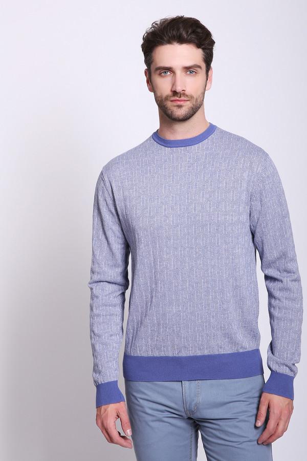Джемпер PezzoДжемперы и Пуловеры<br>Джемпер мужской голубого цвета бренда Pezzo. Модель выполнена прямым фасоном, изделие дополнено округлым воротом, втачными, длинными рукавами. Ткань имеет принт. Окружность ворота, манжеты и низ джемпера обшиты тканью синего цвета. Ткань состоит из 100% хлопка. Сочетать можно с различными брюками.