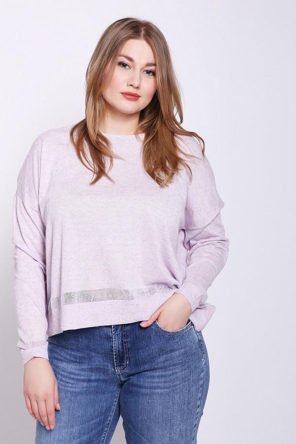 Пуловер PezzoПуловеры<br>Пуловер сиреневого цвета бренда Pezzo. Модель выполнена прямым фасоном. Изделие дополнено округлым воротом, длинными рукавами. Ткань состоит из 70% полиэстера, 15% льна, 8% полиамида, 7% металла. Сочетать можно с различными брюками.