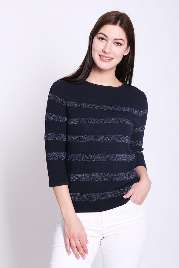 Пуловер PezzoПуловеры<br>Пуловер женский синего цвета от бренда Pezzo. Модель выполнена прямым фасоном. Изделие дополнено округлым воротом, втачными рукавами 3/4 длины. Пуловер имеет полосатый принт. Ткань состоит из 55% вискозы, 6% полиэстера, 36% хлопка, 6% металл. Комбинировать можно с различными брюками, юбками.