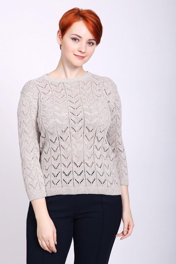Пуловер PezzoПуловеры<br>Пуловер женский бежевого цвета бренда Pezzo. Модель выполнена прямым фасоном. Изделие дополнено округлым воротом, рукавами 3/4 длины. Пуловер изготовлен ажурной вязкой. Состав ткани: 100% хлопок. Сочетать можно с различными брюками.