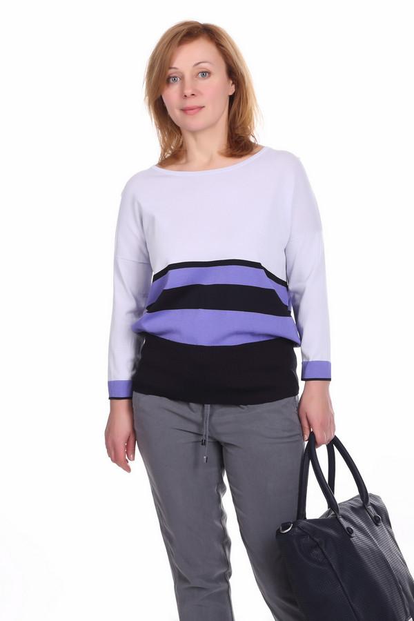 Пуловер PezzoПуловеры<br>Модный женский пуловер Pezzo покроя летучая мышь. Плечевая часть пуловера белая, а нижняя в сиреневую и черную полоски. Изделие дополнено: круглым вырезом и широкой резинкой на поясе, также, у данного изделия рукав длиной три четверти. Пуловер пошит из смеси вискозы и нейлона.<br><br>Размер RU: 50<br>Пол: Женский<br>Возраст: Взрослый<br>Материал: вискоза 63%, нейлон 37%<br>Цвет: Разноцветный