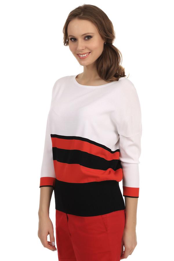Пуловер PezzoПуловеры<br>Стильный пуловер для женщин от бренда Pezzo. Данная модель представлена в белом цвете с черными и красными полосками в нижней части изделия. Пуловер сшит по свободному покрою из таких материалов, как вискоза и нейлон, и дополнен круглым вырезом, рукавом три четверти и широкой резинкой снизу.<br><br>Размер RU: 50<br>Пол: Женский<br>Возраст: Взрослый<br>Материал: вискоза 63%, нейлон 37%<br>Цвет: Разноцветный