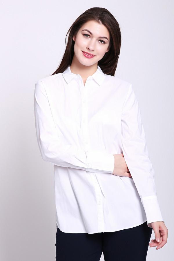 Блузa Gerry WeberБлузы<br>Блуза женская белого цвета фирмы Gerry Weber. Модель выполнена прямым фасоном. Изделие дополнено откладным воротом на стойке, застежка на пуговицы, втачными, длинными рукавами с манжетами на пуговицу, боковыми выемками. По боковым швам пришита полосатая тесьма. Ткань состоит из 70% хлопок, 30% эластомера. Гармонировать можно с различными брюками.