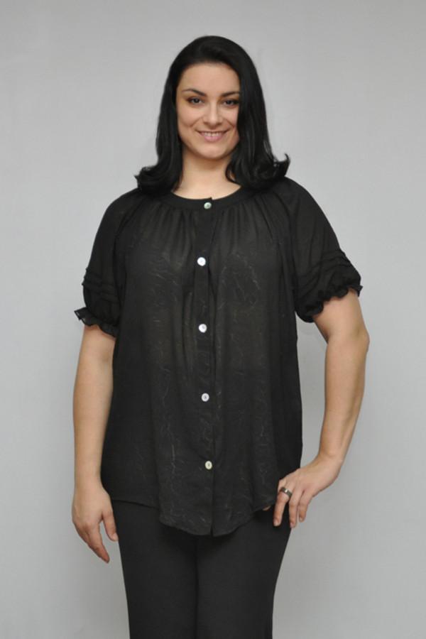 Блузa OLSIБлузы<br>Легкая блуза с коротким рукавом, на 5 пуговицах, сквозная застежка, прямой не облегающий фасон, прикрывает бедра, выполнена из приятного шифона, рукав на резинке.  Вид застежки: на пуговицах Вырез горловины: округлый Длина изделия: по спинке:  Длина рукава: короткие Покрой: прямой Рисунок: без рисунка Фактура материала: текстильный Тип карманов: без карманов Декоративные элементы: без элементов Конструктивные элементы: рукав на резинке, застежка на пуговицах