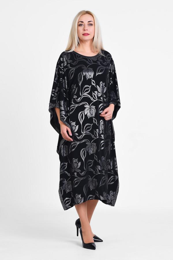 Платье OLSIПлатья<br>Свободного покроя легкое струящееся платье, выполненное из тонкой трикотажной ткани с фойлом (блестящим напылением). Самостоятельный предмет одежды в гардеробе, ткань изготовлена с авторским принтом и содержит 10% эластана для идеальной посадки на любой тип фигуры больших размеров.  Вид застежки: Без застежки Вырез горловины: округлый Длина изделия по спинке: р.48 - 109см р.50 - 109,5см  р.52 - 110см  р.54 - 110,5см  р.56 - 111см  р.58 - 111,5см  р.60 - 112см  р.62 - 112,5см  р.64 - 113см р.66 - 113,5см  р.68 - 114см  р.70 - 114,5см Длина рукава - 45 см Покрой: свободный Рисунок: цветы из фойла по ткани Фактура материала: текстильный Тип карманов: без карманов Декоративные элементы: без элементов Конструктивные элементы: без разреза Длина платья: макси