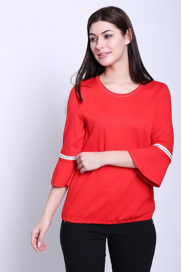 Пуловер Betty BarclayПуловеры<br>Полувер женский красного цвета фирмы Betty Barclay. Модель выполнена прямым фасоном. Изделие дополнено округлым воротом, втачными рукавами 3/4 длинны с воланами. Рукава декорированы тесьмой белого цвета. В низу пуловера вставлена эластичная резинка. Ткань состоит из 3% эластана, 68% вискозы, 29% полиамида. Сочетать можно с различными брюками.