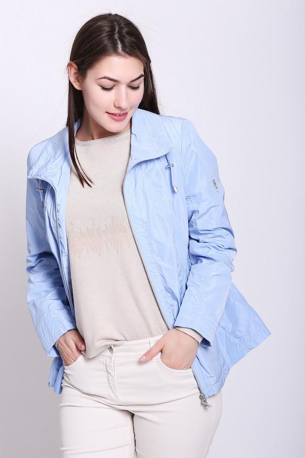 Куртка LebekКуртки<br>Куртка женская голубого цвета фирмы Lebek. Модель выполнена прямым фасоном. Изделие дополнено круглым воротом стойка, застежка молния, втачными, длинными рукавами, боковыми карманами на молнию. Ткань состоит из 100% полиэстер. Подкладка - 100% полиэстер. Комбинировать можно с различными брюками, юбками.