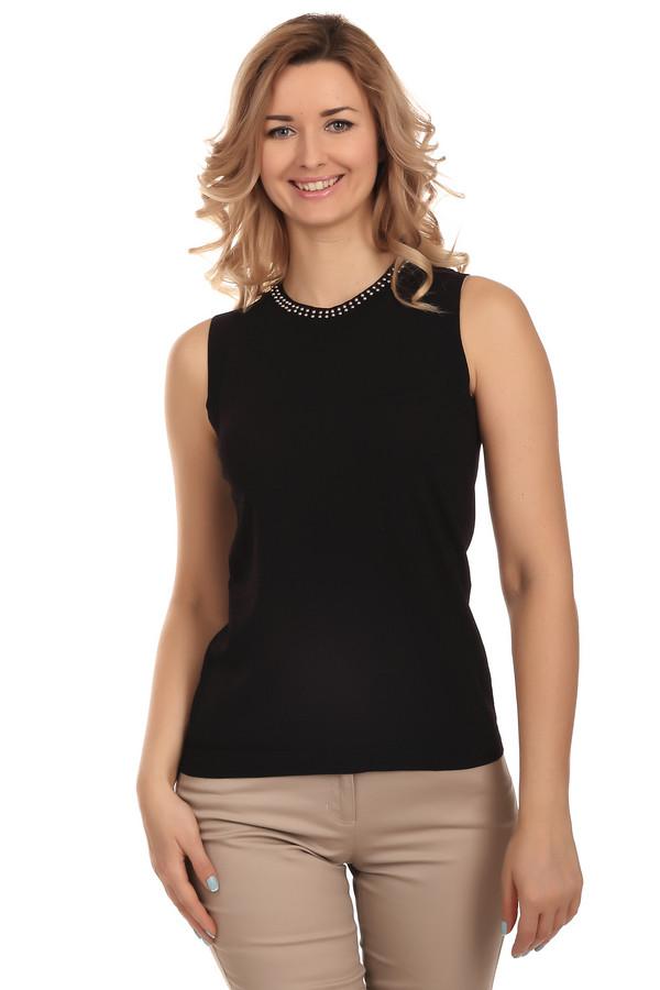 Пуловер PezzoПуловеры<br>Стильный женский пуловер-безрукавка черного цвета от бренда Pezzo. Изделие дополнено: резинкой на плечах, круглым вырезом на резинке, а также резинкой снизу. Вырез пуловера расшит бусинами. Данный пуловер выполнен из вискозы с добавлением полиамида.<br><br>Размер RU: 46<br>Пол: Женский<br>Возраст: Взрослый<br>Материал: вискоза 65%, полиамид 35%<br>Цвет: Чёрный