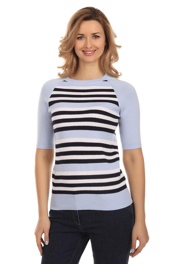 Пуловер PezzoПуловеры<br>Модный женский пуловер от бренда Pezzo. Этот пуловер связан из вискозы, с добавлением полиамида. Изделие представлено в нежно-голубом оттенке в белую и черную полоску, и дополнено классическим круглым вырезом, рукавом длиной до середины плеча, а также резинкой в нижней части.<br><br>Размер RU: 50<br>Пол: Женский<br>Возраст: Взрослый<br>Материал: полиамид 32%, вискоза 68%<br>Цвет: Разноцветный