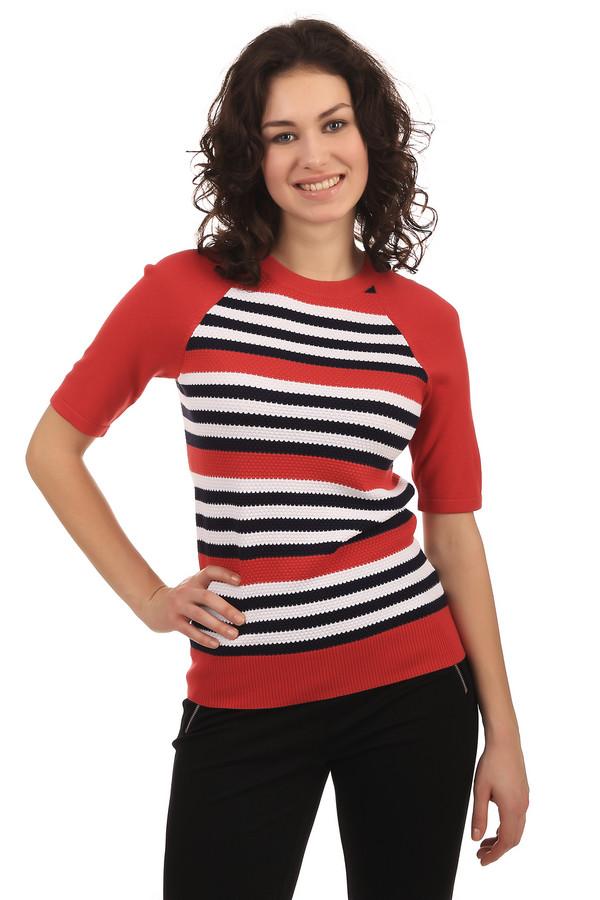 Пуловер PezzoПуловеры<br>Женский пуловер от бренда Pezzo. Это пуловер красного цвета в белую и черную полоску. Изделие выполнено из вискозы с добавлением полиамида, и дополнено круглым вырезом, а также рукавом длиной до локтя.<br><br>Размер RU: 52<br>Пол: Женский<br>Возраст: Взрослый<br>Материал: полиамид 32%, вискоза 68%<br>Цвет: Разноцветный
