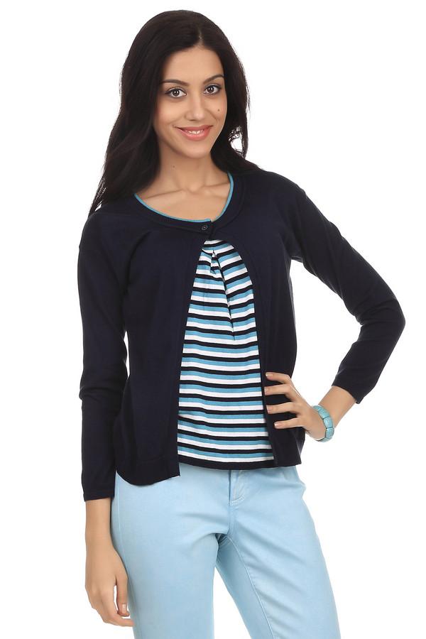 Пуловер PezzoПуловеры<br>Стильный женский пуловер бренда Pezzo. Это пуловер-накидка темно-синего цвета, с круглым вырезом на пуговице, дополненный вставкой с бело-голубыми полосками и длинным рукавом. Изделие выполнено из натурального хлопка.<br><br>Размер RU: 44<br>Пол: Женский<br>Возраст: Взрослый<br>Материал: хлопок 100%<br>Цвет: Разноцветный