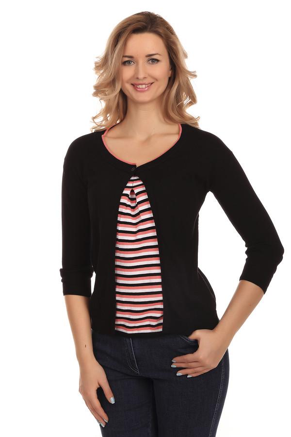 Пуловер PezzoПуловеры<br>Стильный женский пуловер бренда Pezzo. Это пуловер-накидка классического черного цвета, с круглым вырезом на пуговице, дополненный вставкой с бело-оранжевыми полосками и длинным рукавом. Изделие выполнено из натурального хлопка.<br><br>Размер RU: 52<br>Пол: Женский<br>Возраст: Взрослый<br>Материал: хлопок 100%<br>Цвет: Разноцветный