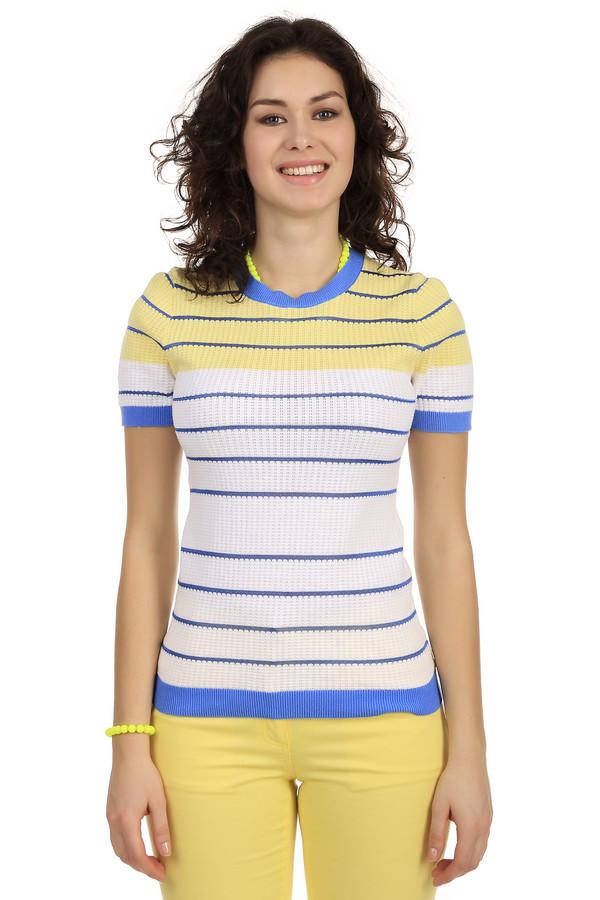 Пуловер PezzoПуловеры<br>Женский пуловер от бренда Pezzo. Это пуловер приталенного кроя, дополненный круглым вырезом на резинке, рукавом длиной до середины плеча на резинке, а также резинкой синего цвета снизу. Верхняя часть пуловера выполнена в желтом цвете в синюю полоску, а нижняя в белом цвете. Изделие изготовлено из хлопка с добавлением вискозы.<br><br>Размер RU: 42<br>Пол: Женский<br>Возраст: Взрослый<br>Материал: хлопок 95%, вискоза 5%<br>Цвет: Разноцветный