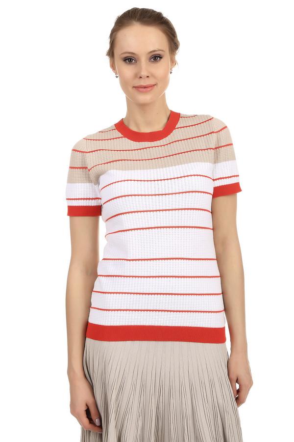 Пуловер PezzoПуловеры<br>Женский пуловер от бренда Pezzo. Это пуловер приталенного кроя, дополненный круглым вырезом на резинке, рукавом длиной до середины плеча на резинке, а также резинкой оранжевого цвета снизу. Верхняя часть пуловера выполнена в бежевом цвете в оранжевую полоску, а нижняя в белом цвете. Изделие изготовлено из хлопка с добавлением вискозы.<br><br>Размер RU: 44<br>Пол: Женский<br>Возраст: Взрослый<br>Материал: хлопок 95%, вискоза 5%<br>Цвет: Разноцветный