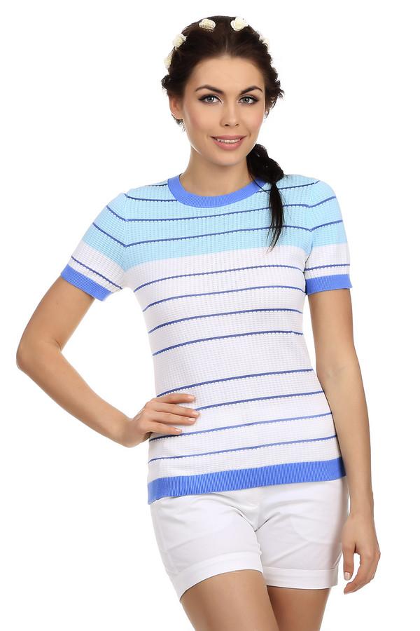 Пуловер PezzoПуловеры<br>Женский пуловер от бренда Pezzo. Это пуловер приталенного кроя, дополненный круглым вырезом на резинке, рукавом длиной до середины плеча на резинке, а также резинкой синего цвета снизу. Верхняя часть пуловера выполнена в голубом цвете в синюю полоску, а нижняя в белом цвете. Изделие изготовлено из хлопка с добавлением вискозы.<br><br>Размер RU: 52<br>Пол: Женский<br>Возраст: Взрослый<br>Материал: хлопок 95%, вискоза 5%<br>Цвет: Разноцветный