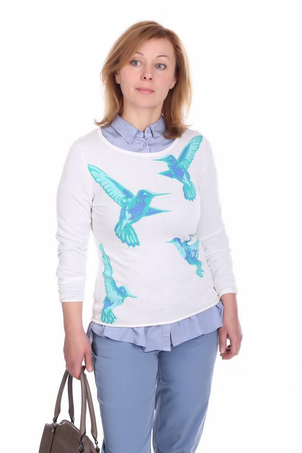 Пуловер PezzoПуловеры<br>Стильный женский пуловер белого цвета, от фирмы Pezzo. Данный пуловер сшит по классическому крою с круглым вырезом и длинным рукавом. Пуловер выполнен из материала, в состав которого входит 60% вискозы и 40% хлопка. Изделие выглядит эффектно за счет изображения на передней его части птиц колибри, выполненных в сине-голубых оттенках.<br><br>Размер RU: 50<br>Пол: Женский<br>Возраст: Взрослый<br>Материал: вискоза 60%, хлопок 40%<br>Цвет: Голубой