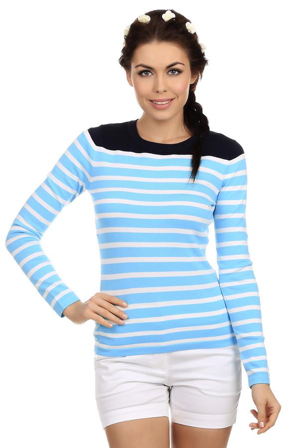 Пуловер PezzoПуловеры<br>Пуловер для женщин от известной торговой марки Pezzo. Это пуловер простого кроя, который пошит из вискозы, с примесью хлопка и нейлона. У данной модели круглый вырез и длинный рукав. Изделие представлено в голубом цвете в белую горизонтальную полоску, а плечевая часть пуловера выполнена в черном цвете.<br><br>Размер RU: 50<br>Пол: Женский<br>Возраст: Взрослый<br>Материал: хлопок 30%, нейлон 25%, вискоза 45%<br>Цвет: Разноцветный
