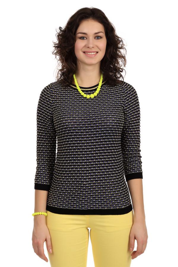 Пуловер PezzoПуловеры<br>Невероятно женственный пуловер от бренда Pezzo. Данное изделие дополнено: круглым вырезом и рукавом длиной три четверти. Свитер связан из нитей разных размеров и цветов, за счет чего создается эффект объемности. Данная модель представлена в черном цвете, с добавлением тонких желтых и толстых синих нитей. Также у выреза есть тонкая желтая полоска.<br><br>Размер RU: 42<br>Пол: Женский<br>Возраст: Взрослый<br>Материал: хлопок 17%, полиамид 9%, вискоза 74%<br>Цвет: Разноцветный